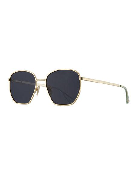Le Specs Luxe Ottoman Geometric Sunglasses, Black Nickel