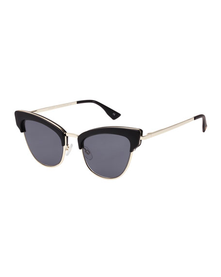 Le Specs Luxe Ashanti Semi-Rimless Cat-Eye Sunglasses, Matte