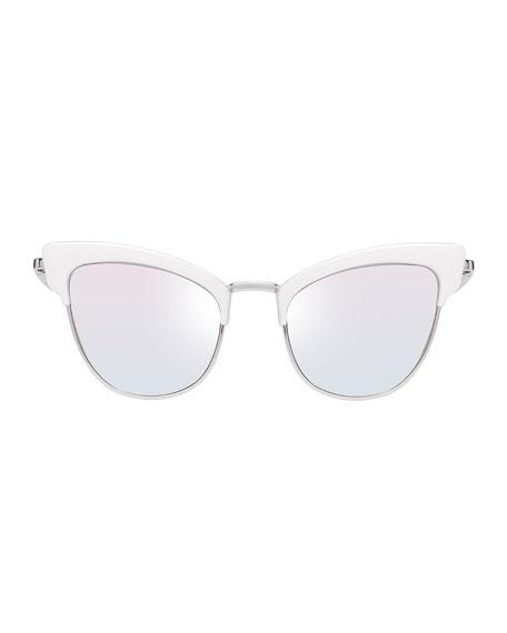 Ashanti Semi-Rimless Cat-Eye Sunglasses, Pink/Matte Quartz