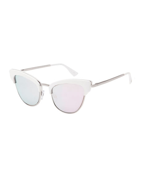 Le Specs Luxe Ashanti Semi-Rimless Cat-Eye Sunglasses, Pink/Matte