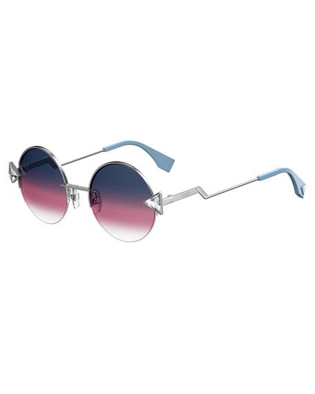Rainbow Round Sunglasses, Purple/Gold