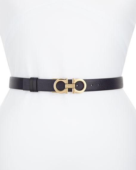 Reversible Leather Gancini Belt, Blue/Black