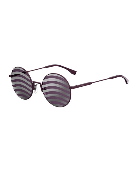 Fendi Waved Stripe Round Sunglasses