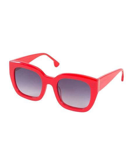 Alice + Olivia Aberdeen Square Sunglasses, Red