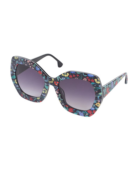 Dinah Chunky Geometric Floral Sunglasses, Multicolor