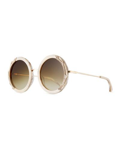 Beverly Round Swarovski® Sunglasses, Nude