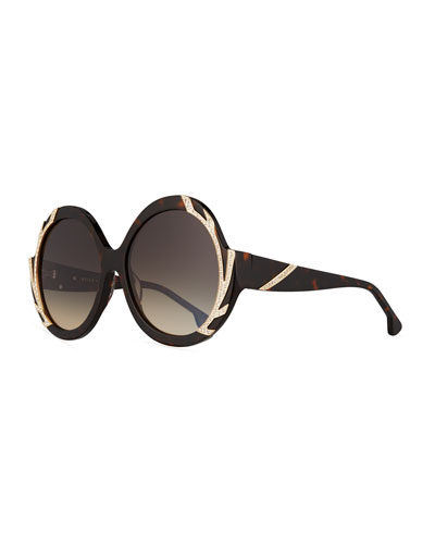 Stacey Notched Round Swarovski® Sunglasses, Brown Tortoise