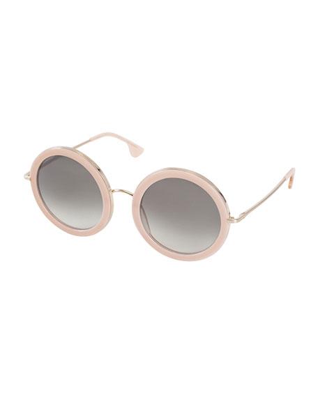 Alice + Olivia Beverly Round Sunglasses, Blush