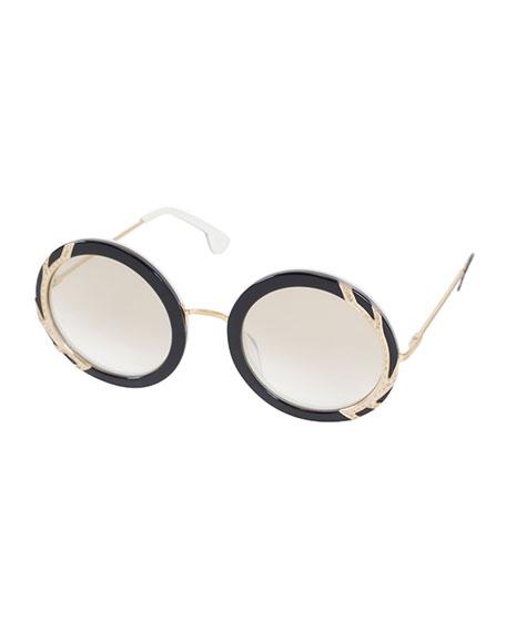 Alice + Olivia Beverly Round Swarovski® Sunglasses,