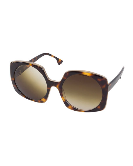 Alice + Olivia Canton Square Sunglasses, Brown Tortoise