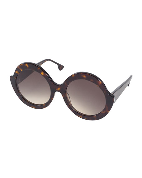 Stacey Notched Round Sunglasses, Brown Tortoise