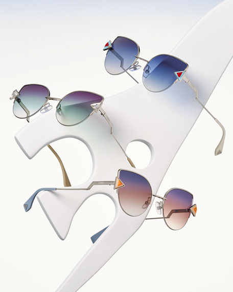 d7a13f311898 Fendi Rainbow Metal Cat-Eye Sunglasses