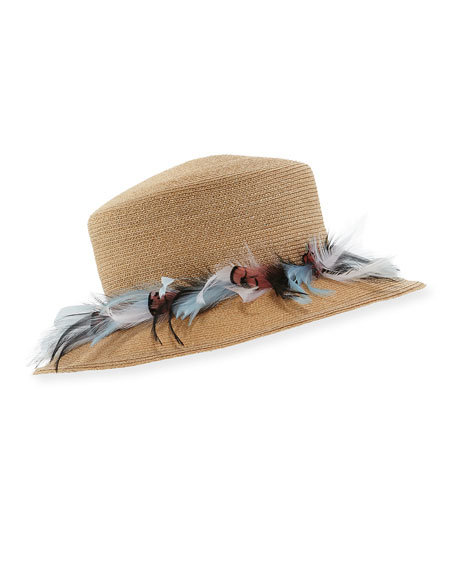 Braided Straw Feather Plume Hat