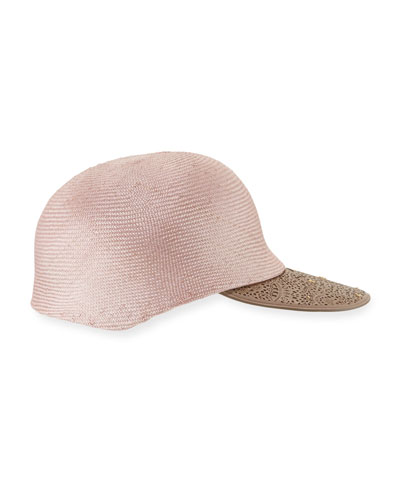 Straw Leather-Trim Baseball Cap