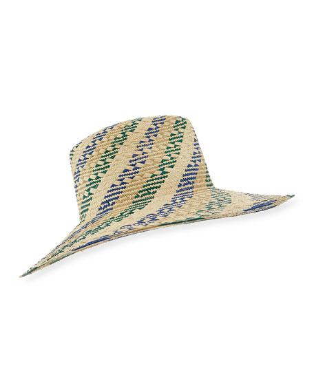 Florence Striped Straw Fedora Hat, Light Brown