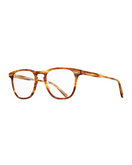 Brooks Square Optical Frames w/Clip-On Sunglasses, Gold/Tortoise