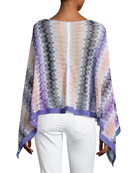 Bateau-Neck Zigzag Poncho, Purple
