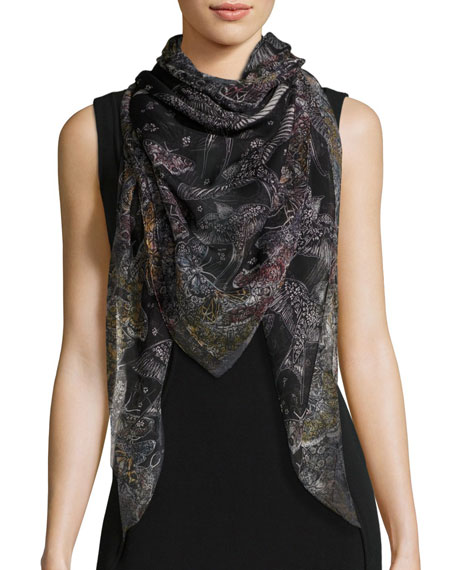 Wildflower Flight Square Silk Scarf, Black/White