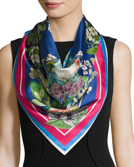 St. Piece Florence Floral Double-Face Silk Scarf, Blue