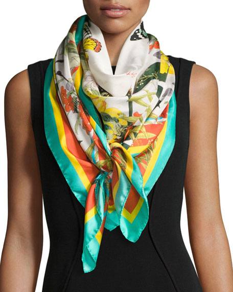 St. Piece Florestine Large Floral Silk Twill Scarf,