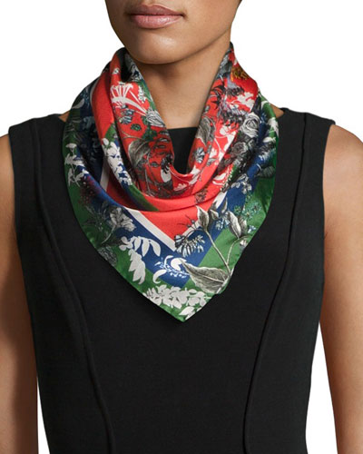 Freya Floral Silk Twill Square Scarf, Green/Red