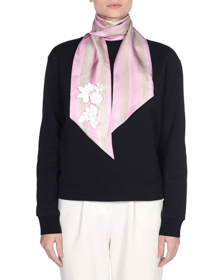 Striped Silk Skinny Scarf, Pink