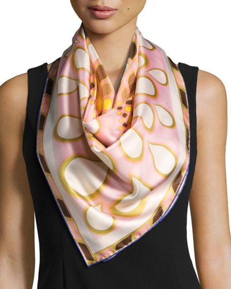 Silk Twill Kaleidoscope Scarf, Pink