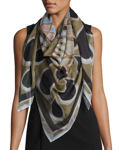 Square Voile Kaleidoscope Scarf, Green