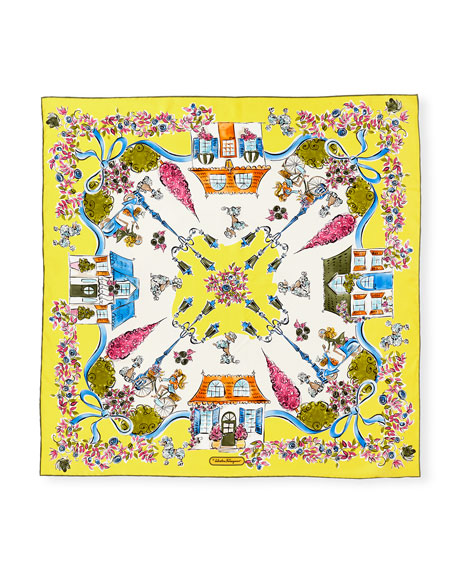 Estro Printed Silk Satin Scarf, Yellow