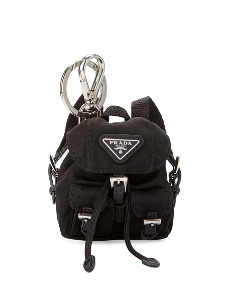 Prada Vela Backpack-Shaped Handbag Charm/Keychain, Black (Nero)