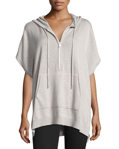 Hooded Half-Zip Poncho, Gray