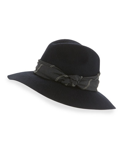 Wide-Brim Fedora w/Knotted Band, Navy