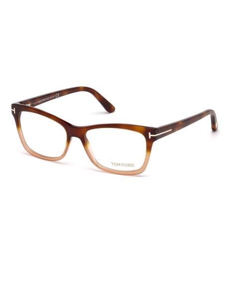 Square Two-Tone Optical Frames, Brown/Orange