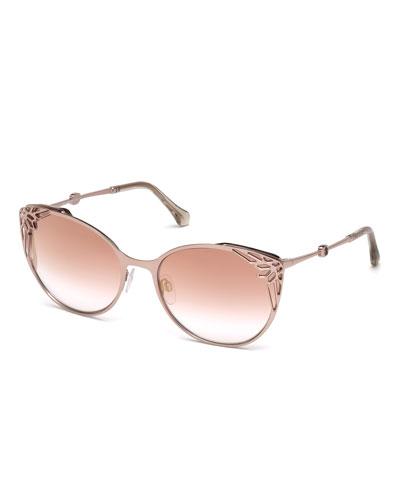Casole Laser-Cut Mirrored Cat-Eye Sunglasses, Rose Gold