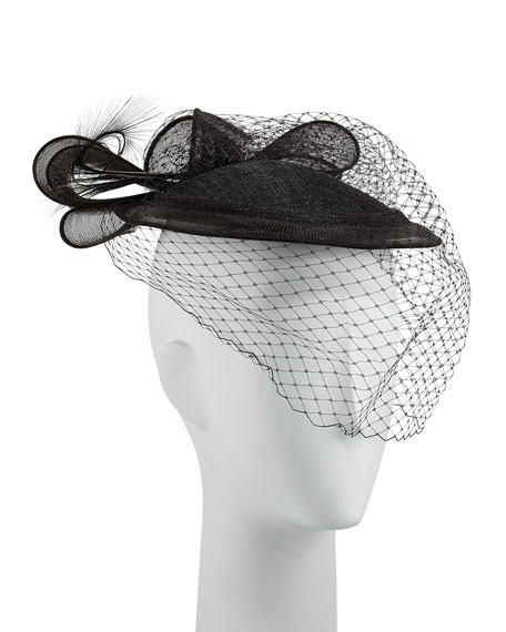 Veiled Cocktail Hat, Black