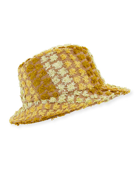 Clo Frayed Canvas Fedora Hat, Yellow