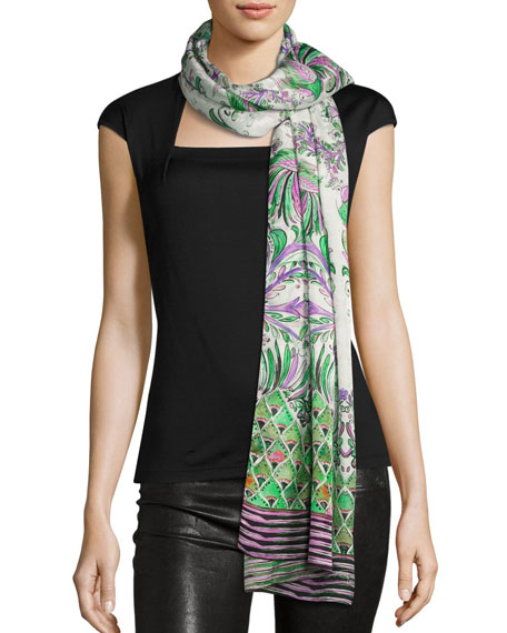 Floral Silk Satin Jacquard Scarf, White/Purple