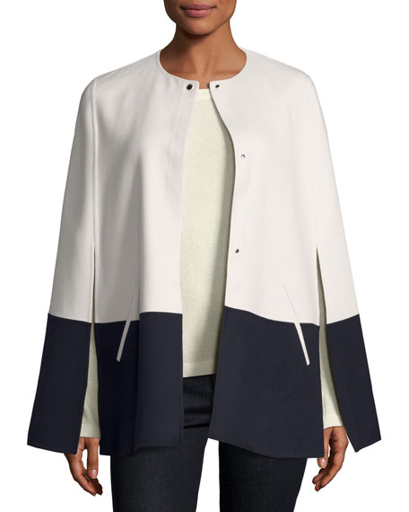 Shorty Bicolor Cashmere Cape, White/Navy