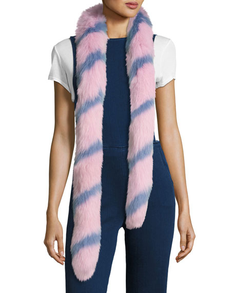 Swirly Striped Fox Fur Scarf, Pink