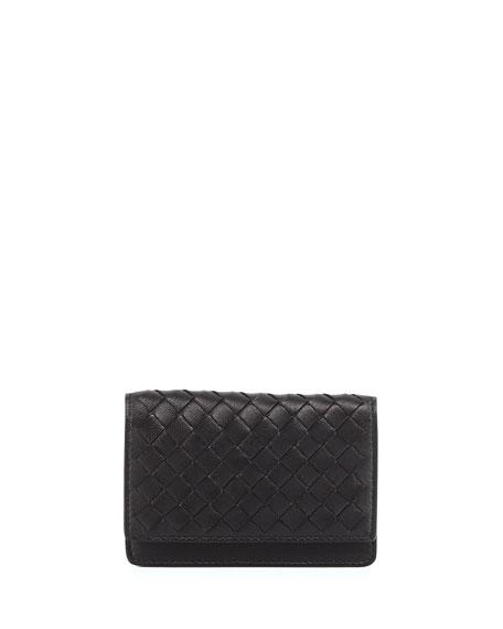 Bottega Veneta Woven Leather Flap-Style Credit Card Case,