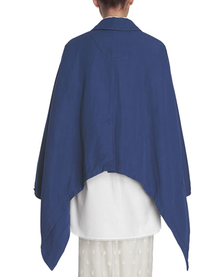 Workwear Button-Front Cape, Indigo