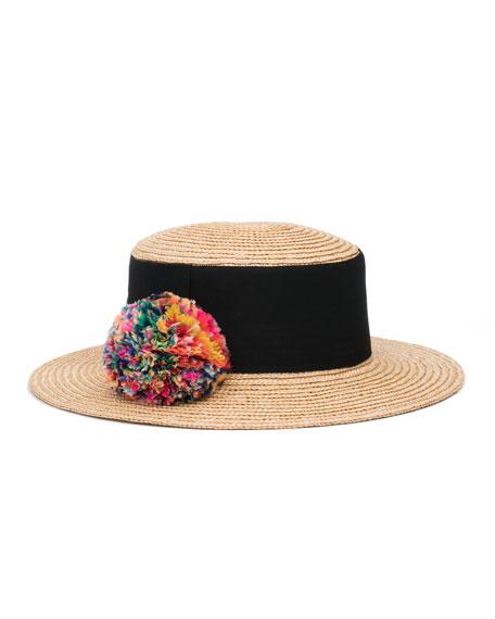 Eugenia Kim Brigitte Straw Boater Hat, Neutral
