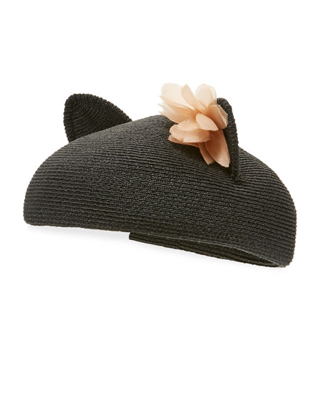 Caterina Braided Cat-Ear Beret Hat, Black