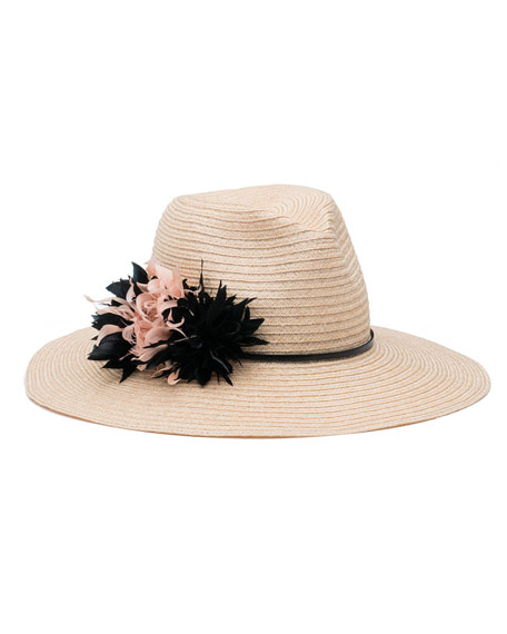 Emmanuelle Floral Wide-Brim Fedora Hat, Neutral