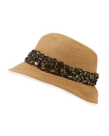 Eugenia Kim Max Floral Sequin Fedora Hat, Camel