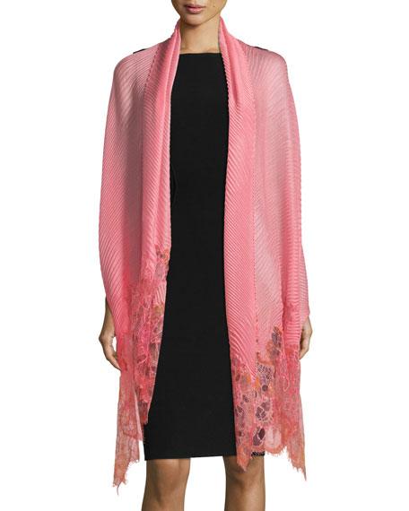 Valentino Garavani Painted Lace Plisse Shawl