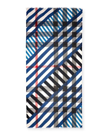 Multi-Stripe Sheer Voile Scarf, Blue/White