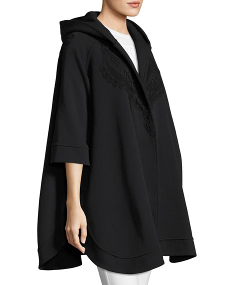 Lace-Trim Hooded Poncho, Black