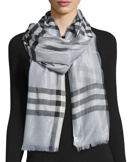 Metallic Gauze Giant Check Scarf, Blue
