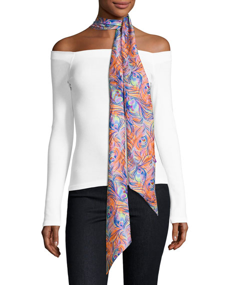 Liberty London Pandora Skinny Silk Feather Scarf, Orange